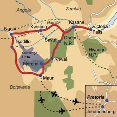 Reiseverlauf Botswana 4x4 Offroad-Adventure Offroadtour im 4x4 Fahrzeug durch Botswana und Namibia