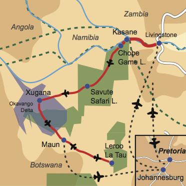 Karte und Reiseverlauf: Follow me ... - Honeymoon in Zambia und Botswana