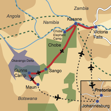 Karte und Reiseverlauf: Wings over Botswana - Fly-In Safari zu Botswanas Tierparadiesen