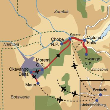 Karte & Reiseverlauf: Zimbabwe & Botswana Explorer - Interessant, länderübergreifende Safarikombination