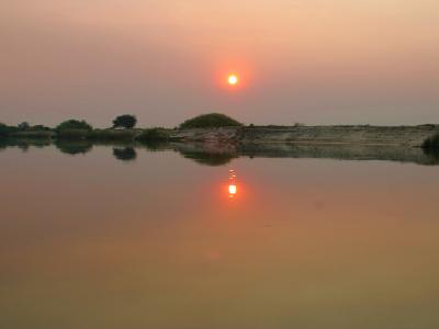 """Erleben Sie bei einem """"Sundowner Cruise"""" auf dem Okavango einen romantischen Sonnenuntergang"""