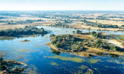 Panorama Flug Aufnahme des Okavango Deltas aus dem Flugzeug