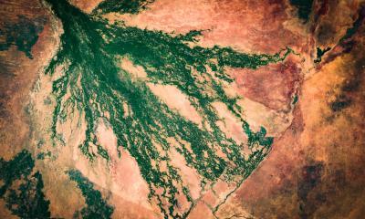 Satellitenaufnahmen des Okavango Deltas in Botswana