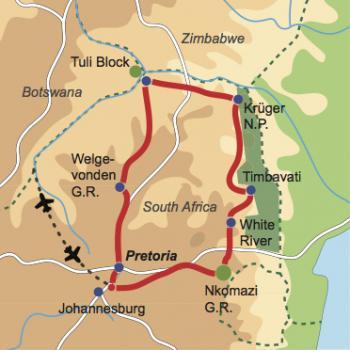 Karte und Reiseverlauf: Off the beaten track - Mietwagen-Safari nördliches Südafrika und Botswana
