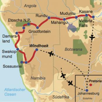 """Karte und Reiseverlauf: Vom Wüstensand zum """"Rauch, der donnert"""" - Mietwagenreise durch den Caprivi-Strip zu den Viktoria Fällen"""